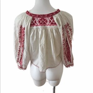 Free People Tops - Free people Embroidered Crop Top size Small